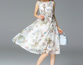 Elegant printing sleeveless Long dress,female dress,white dress,summer dress,party dress,Vest dress,tunic skirt  - Women Clothing
