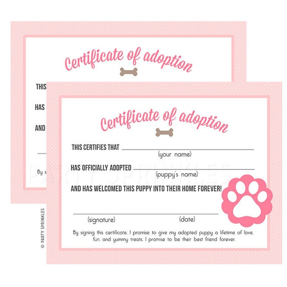 Pink puppy birthday party adoption certificates diy for Diy certificates