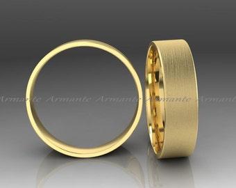 Gold Wedding Band, Wedding Ring , Men's Gold Wedding Band, Men's Gold Wedding Ring, 14K Yellow Gold Wedding Band, 6.00mm Wide, Flat Design