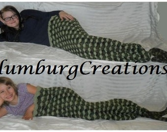 Mermaid Tail Blanket Cocoon Hand Crocheted for Toddler, Child, Preteen, Teen, Adult (Green Camo Blast) Fast Turn Around