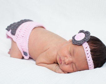 Diaper Cover - Pink and Grey - Ruffle - Baby Accessories