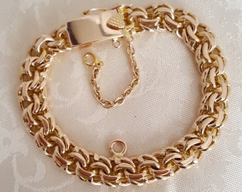 Antique Heavy Hand-Made Double Curb Link Charm Bracelet w/Safety Chain in 10k Yellow Gold -EB476