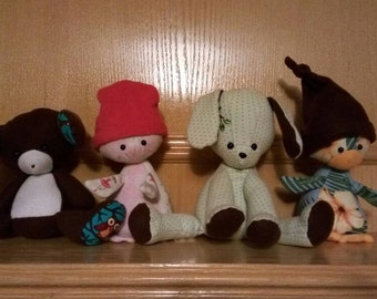 Memory bear/rabbit/puppy/penguin/cat/snake, stuffed animal, custom made to order to honor/remember your loved ones, babies, etc
