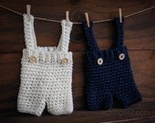 Adjustable Baby Overall Short Suspender Pants; Baby Trousers; Crochet Boy Romper; White-Navy Boy Outfit - newborn and baby photography prop
