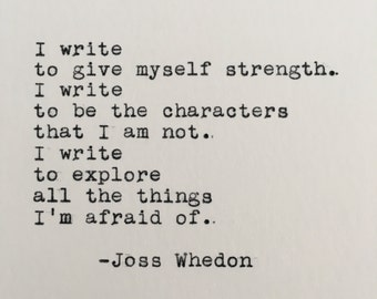 joss whedon writing quote typed on typewriter 4x6 white cardstock
