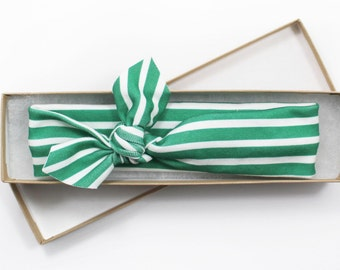 Green Headband/ Emerald Green Knotted Headband/ Infant Headband/ Toddler Headband/ St. Patrick's Day Stripe Headband