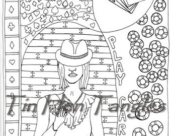 playing poker coloring pages - photo#16
