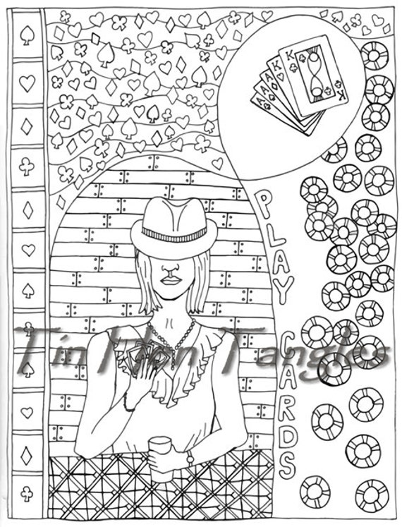 playing poker coloring pages-#7