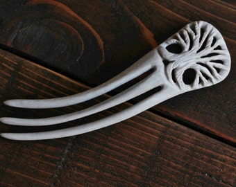 Tree of Life Hair Fork - Carved from Antler
