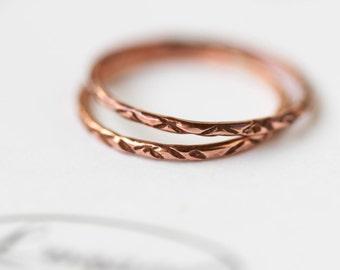 Copper Stacking Ring Thin Snakeskin Stacking Ring Set