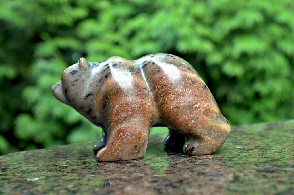Animal figurine stone bear soapstone carving hand made