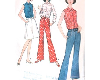 McCalls Sewing Pattern 8291 Misses' Blouse, Pants, Skirt - estimated 1960's  Size:  10  Bust 31  Used