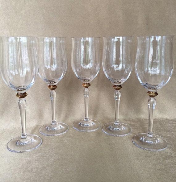 Vintage Wine Glasses Optic Glass Bowl Gold Knob Stem