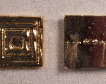 """Set of 6 JHB Intl Gold Metal Buttons Stacked Square 15/16 X 15/16"""" 24 X 24 mm lyk0033"""