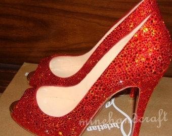 Red Women Pumps High/low Heels Ruby Red Rhinestone Prom Shoes Custom Peep Toe Crystal Pumps Heels
