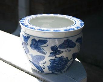 Cobalt Blue Butterfly Pot