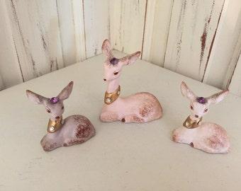 Birthstone Deer, Ceramic Figurine, Collectible, Vintage, Retro, Kitschy, February Birthstone, Trio of Deer, Purple, Amethyst