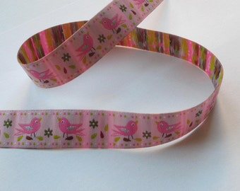 Web band 20 mm - birds / pink - Singing birds