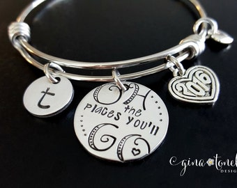 Oh the Places You Will Go, Class of 2016 Bracelet, High School Graduation Gift for Her, Graduation Gift Personalized, Graduation Jewelry