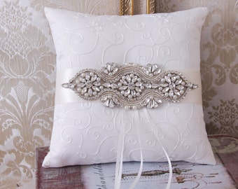 Wedding Ring Bearer Pillow, Rhinestone Wedding Pillow, Rhinestone Ring Bearer, White or Ivory Ring Pillow, Wedding Pillow