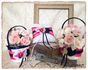 Fuchsia Flower Girl Basket set, Wedding Ring Pillow, Ring Bearer Pillow, Flower Basket