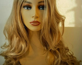 Long Medium Sandy Blonde Wig, Wavy Blonde Wig, Long Past the Shoulder Wavy Blonde Wig,