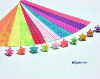 Pack of 200 Strips Tiny Lucky Stars Origami Paper Kit. 12cm x 0.7cm. (AV paper series). #SPK-184.