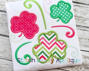 Swirl Shamrocks St. Patrick's Day Machine Applique Design