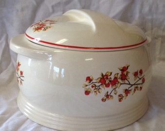 Vintage Ovenproof Dish with Lid by Universal Cambridge/ White with Red Fruit