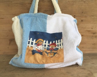 SUPER SALE!!!!Handmade big bag, shopping bag, vintage fabric, beach sac, tote bag, children