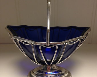 Vintage Blue Cobalt Bowl/ Silver Plated Basket with Handle/Condiment/Candy Bowl