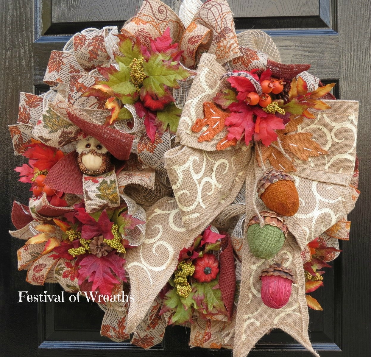 Fall Deco Mesh Wreath Fall Front Door Wreath Fall Burlap