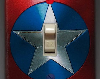 Captain America Shield Light Switch Cover -  Marvel Comics Avengers FREE SHIPPING