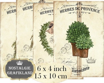 Herbes de Provence 6 x 4 inch Instant Download digital collage sheet D271 Herbs Rosemary Thyme