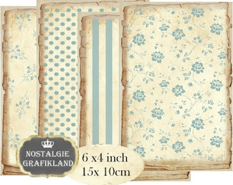Shabby Chic Pastel Background printable 6 x 4 inch Journals Instant Download digital collage sheet D166 roses stripe polka dots light blue