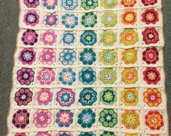 Rainbow granny square baby blanket