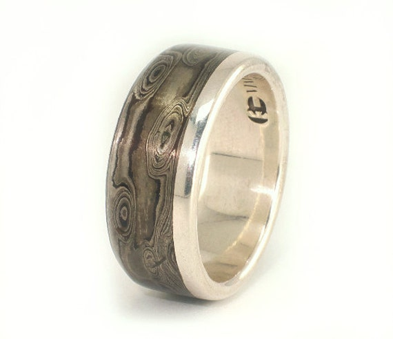 Mokume Wedding Band Shakudo Shibuichi Kuro