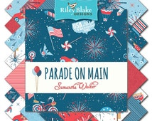 """Parade on Main by Riley Blake Designs 5"""" Stackers Charm Packs 100% Designer Cotton by Samantha Walker 5-6080-18"""