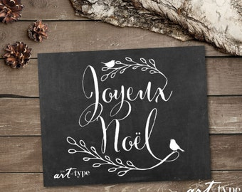 Joyeux Noel, Merry Christmas Chalkboard Print INSTANT DOWNLOAD 8x10 Printable Holiday Art, Christmas Art Quote, Christmas Decor, French, DIY