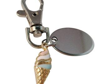 Ice cream keyring, custom engraved personalised in velvet gift pouch PL554