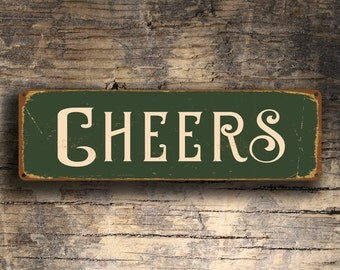 CHEERS SIGN, Cheers Signs, Cheers Sign, Pub Decor, Vintage Style Cheers Sign, Bar Decor, Man Cave Decor, Home Wet Bar Decor, Home Bar Decor