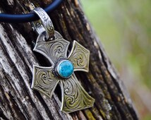 Turquoise Crooked Cross Pendant Necklace