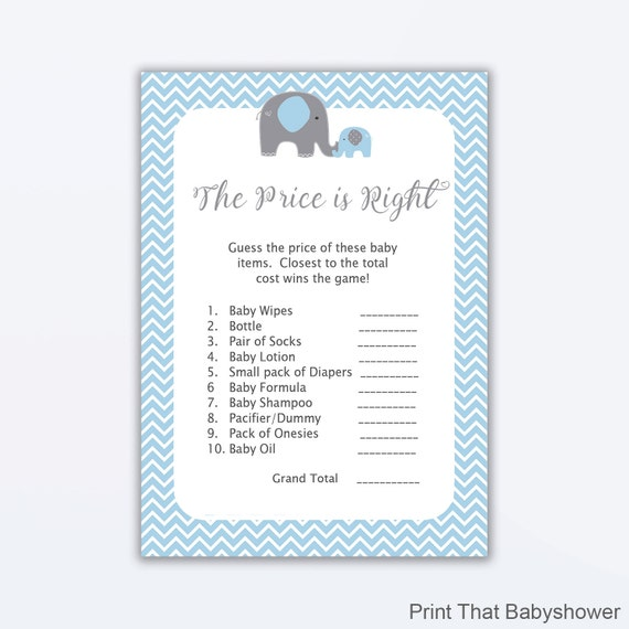 free printable price is right baby shower game template - the price is right baby shower game blue elephant baby
