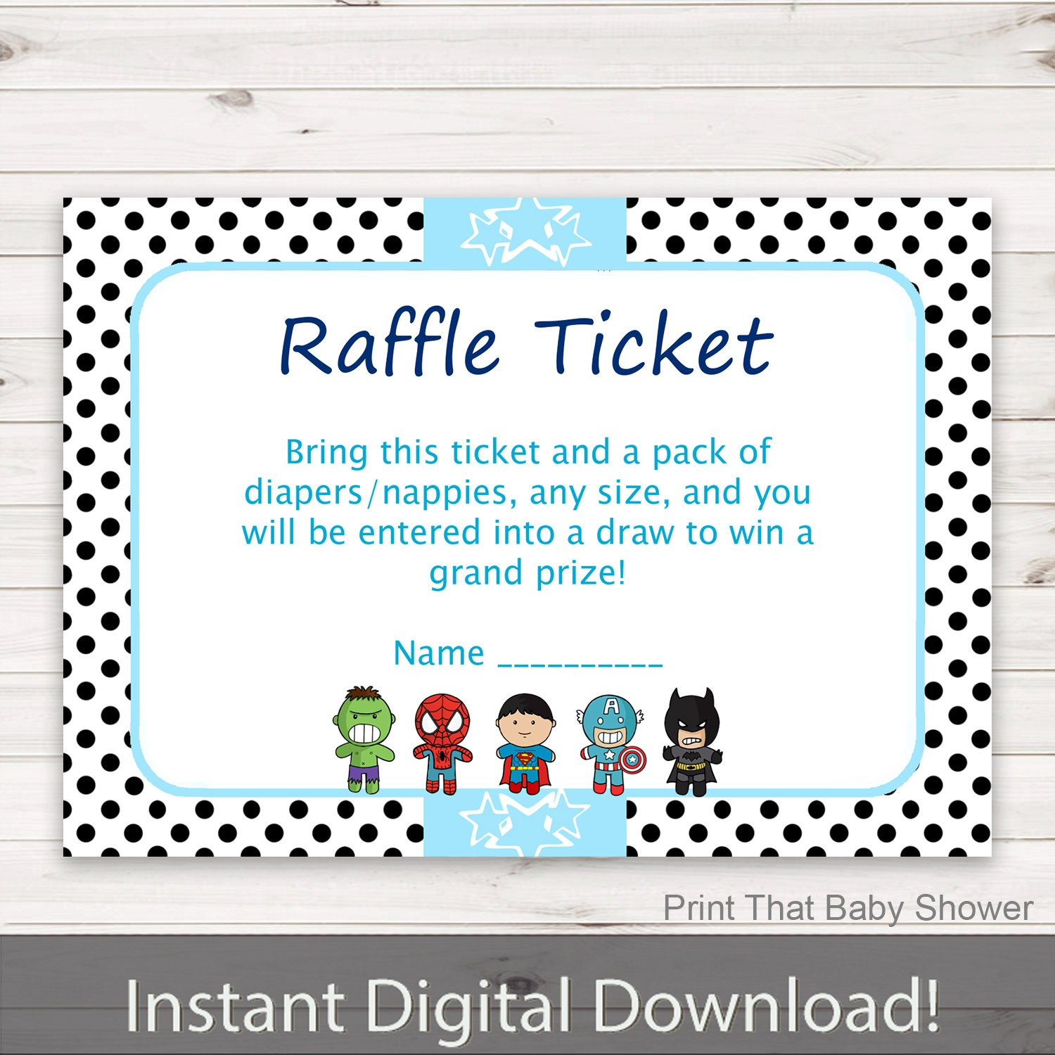 Baby Shower Diaper Raffle: Baby Shower Diaper Raffle Tickets Superhero Invitation