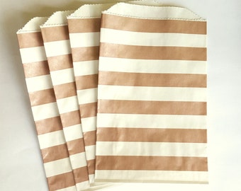 "50 Metallic Rose Gold and White Stripes Favor Bags, 5 x 7.5"", Candy Buffet Bags, Wedding Favor Bags,"