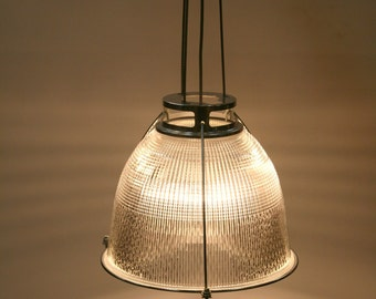 Vintage industrial holophane pendant lighting light shade.