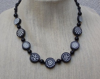 Black & White Handmade Bead Necklace with Spirals and Checkerboards- Polymer Clay, Glass