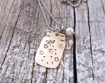 Raw brass or copper mason jar necklace