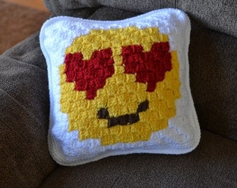 Handmade crochet emoji pillow; emoticon; throw pillow; kissy face; heart eyes; 12 x 12 pillow