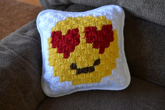 Crocheting Emoji : Handmade crochet emoji pillow emoticon by CrochetingCompanions